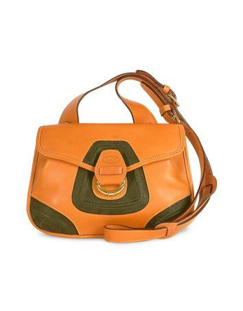 Foto der Handtasche Brics Schultertasche mit Klapplasche aus Leder und Wildleder in braun & olivegruen