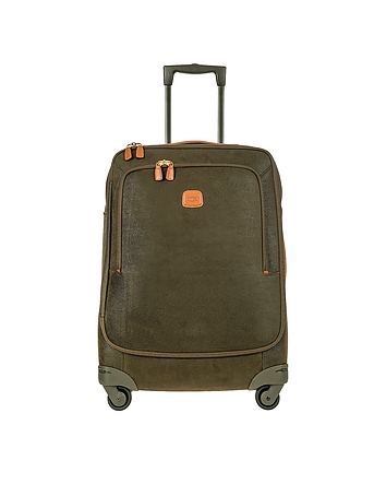 Life Olive Green Micro Suede Medium Trolley