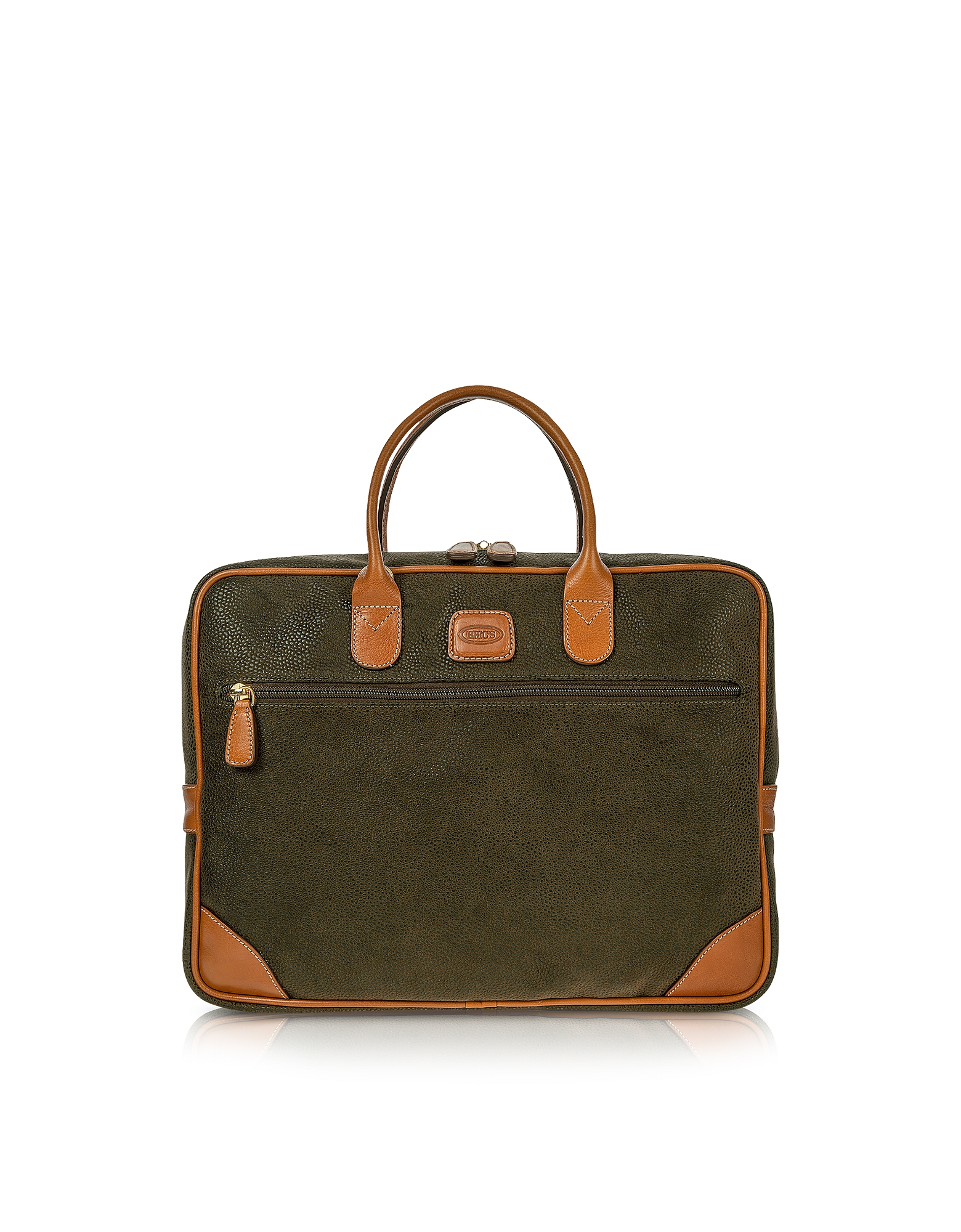 Bric's Briefcases, Life Medium Olive Green Micro Suede Laptop Attache