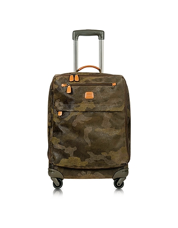 Life Camouflage Military Green Micro Suede Carry on Trolley