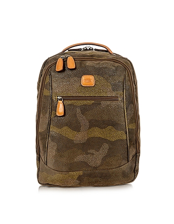 Life Camouflage Military Green Micro Suede Backpack