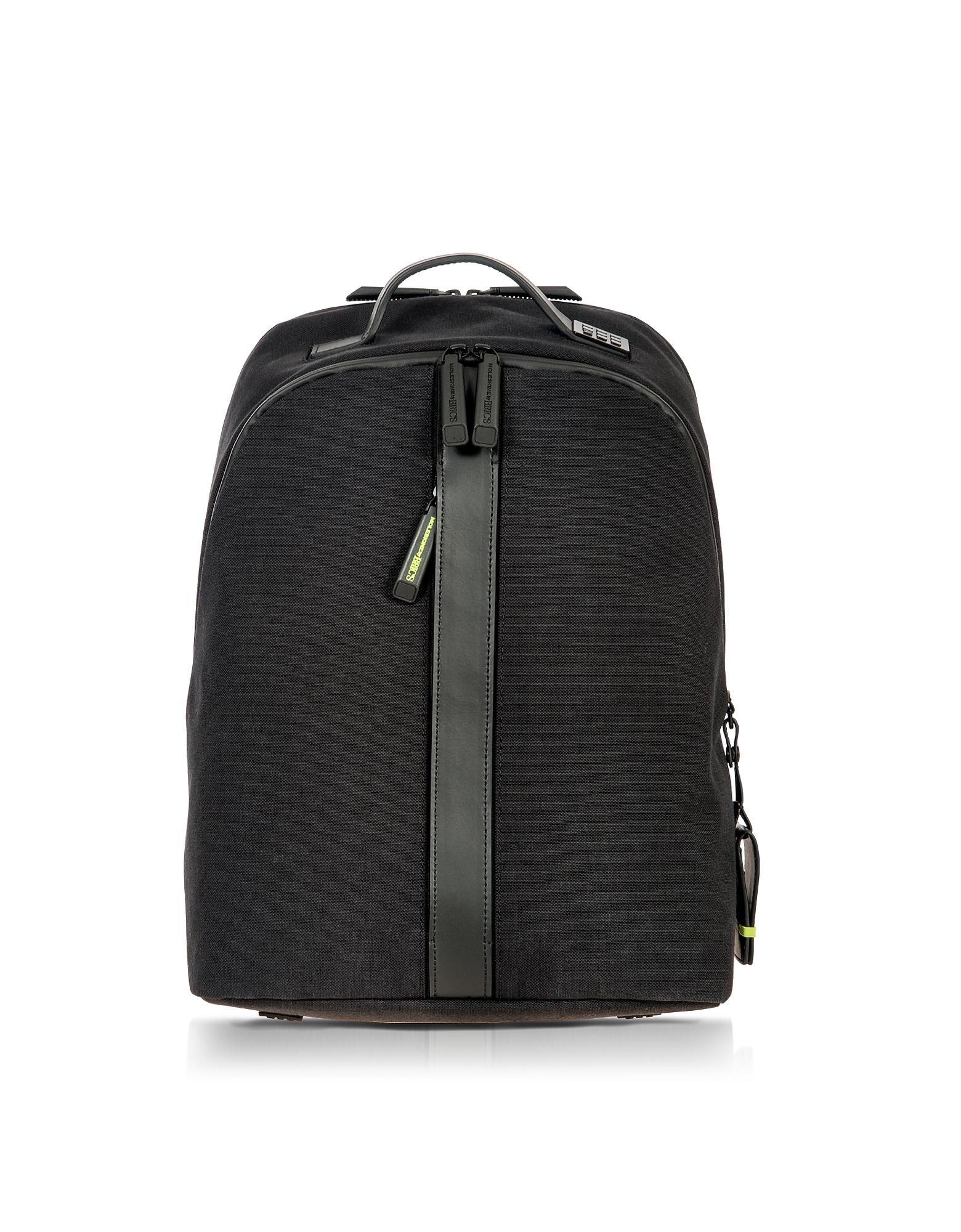 Черный Классический Рюкзак из Нейлона и Кожи