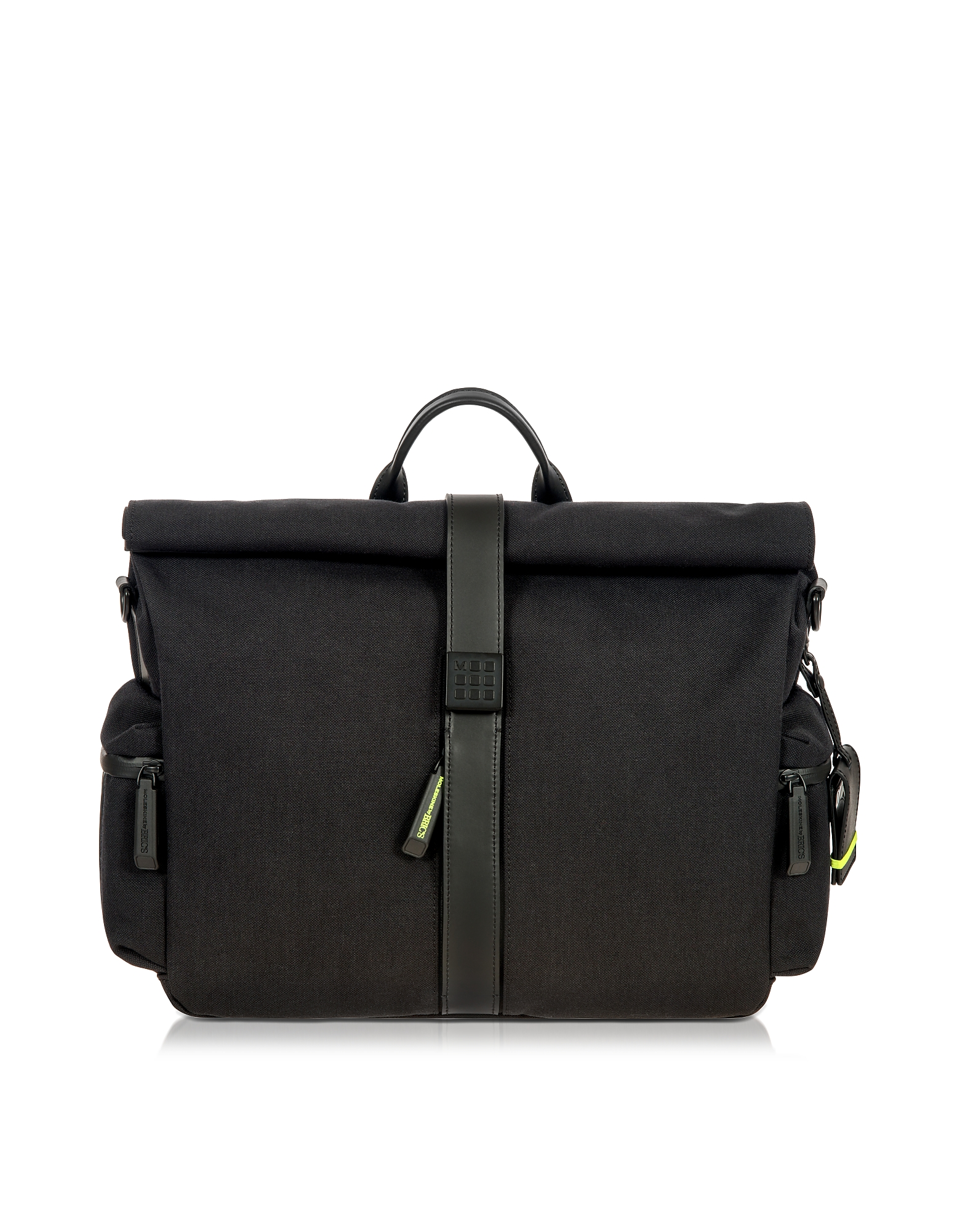 Bric's Briefcases, Black Nylon and Leather Roll-Top Messenger