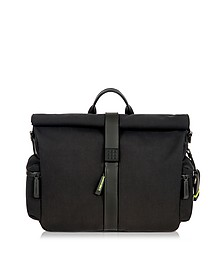 Black Nylon and Leather Roll-Top Messenger  - Bric's