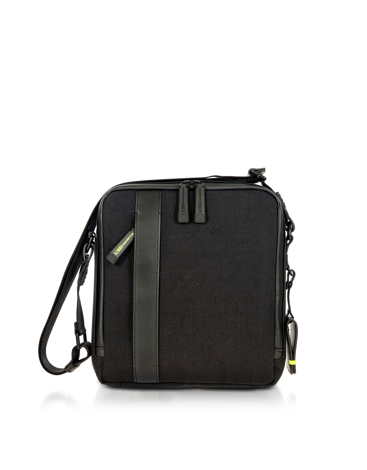 Bric's Travel Bags, Black Nylon and Leather Crossbody Bag