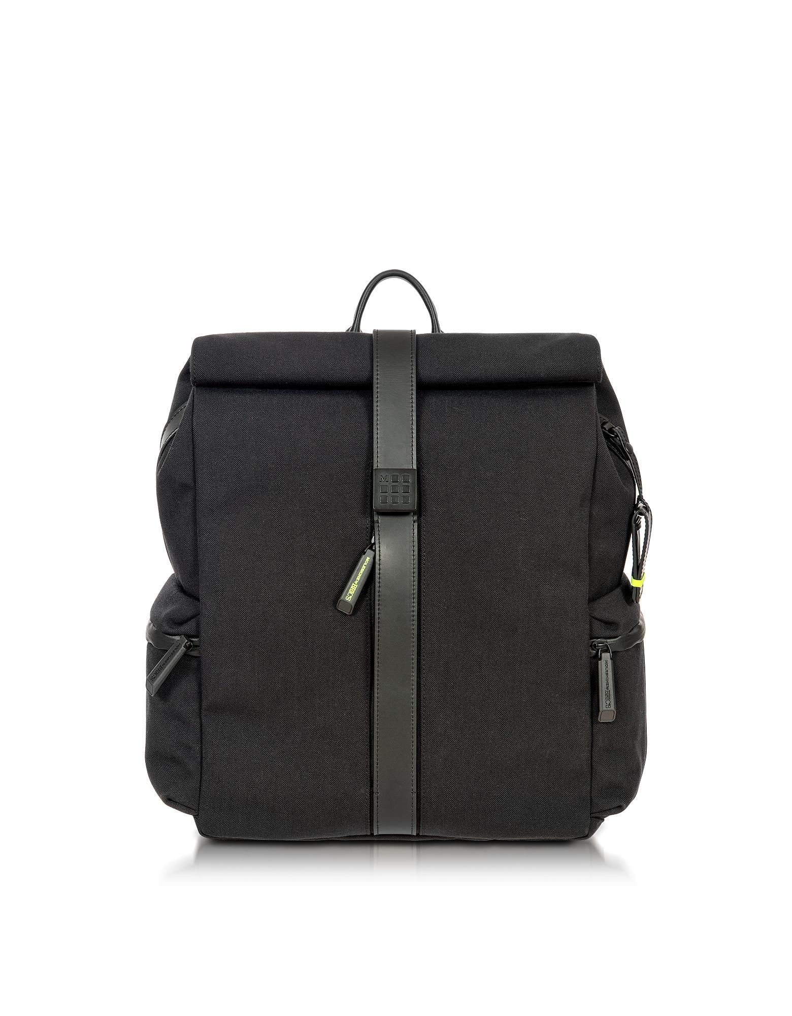 Rolltop - Черный Рюкзак из Нейлона и Кожи