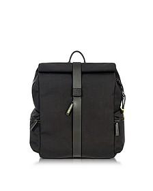 Black Nylon and Leather Rolltop Backpack - Bric's