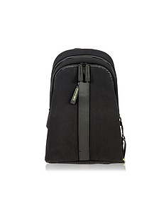 Black Nylon and Leather Backpack w/Single Shoulder Strap - Bric's
