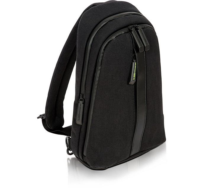 BRIC'S Black Nylon And Leather Sling Backpack