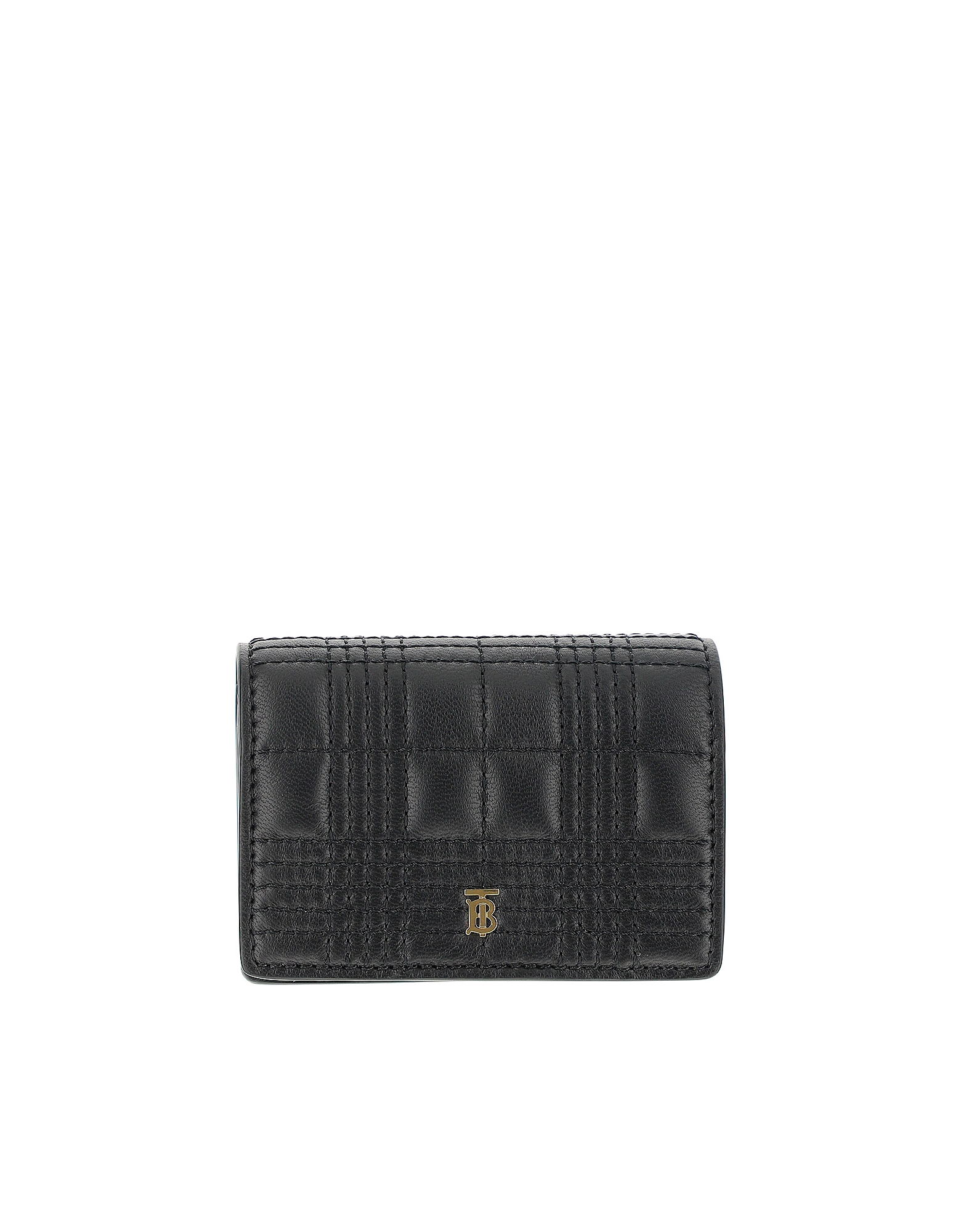 Burberry Designer Wallets, Black Leather Credit Card Holder With Chain