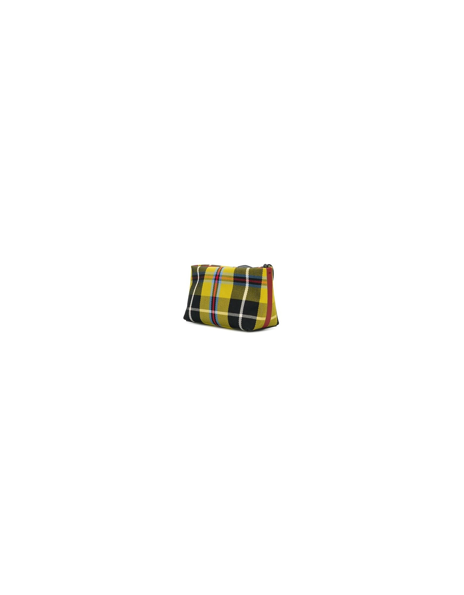 Burberry Designer Handbags, Yellow Tartan Fabric and Leather Clutch