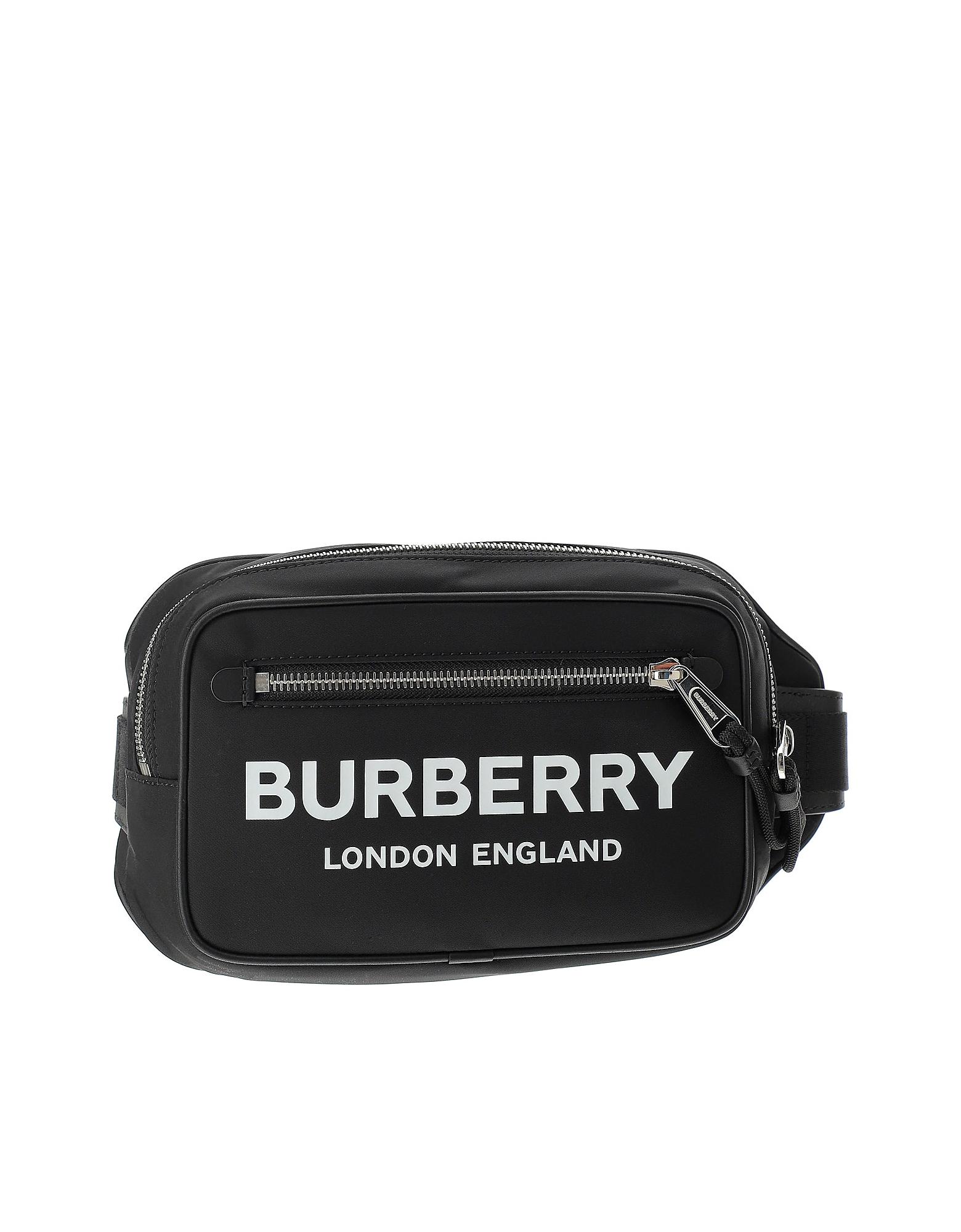 Burberry Designer Men's Bags, Black Signature Fabric Belt Bag
