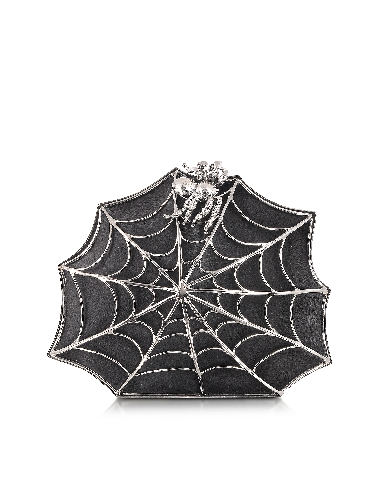 Bernard Delettrez Handbags, Black Ponyhair Clutch w/Web and Spider
