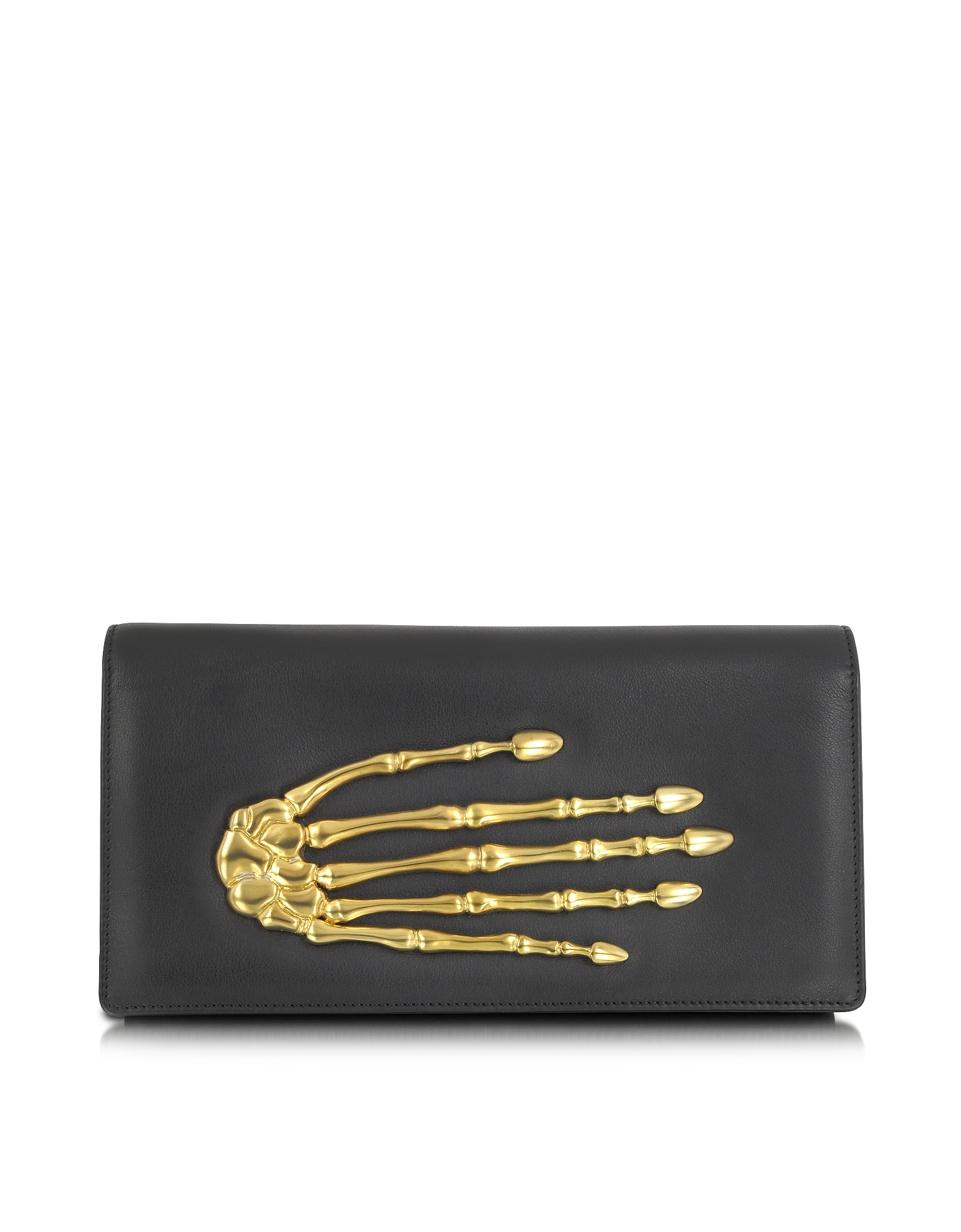Bernard Delettrez Handbags, Black Nappa Leather Pochette w/Skeleton Hand