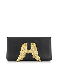 Black Nappa Leather Clutch w/Angel Wings - Bernard Delettrez