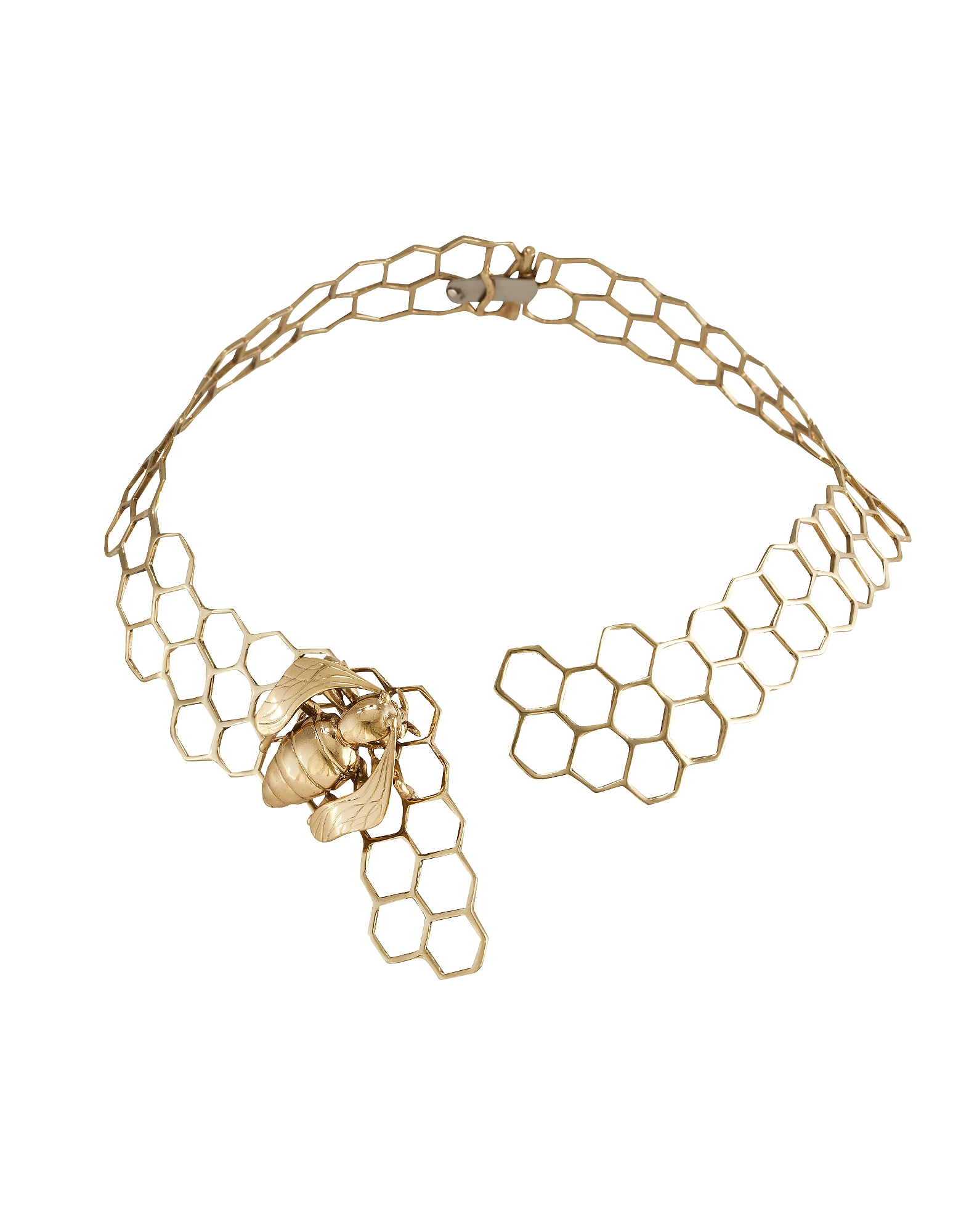Brass Honeycomb Necklace w/ Bee