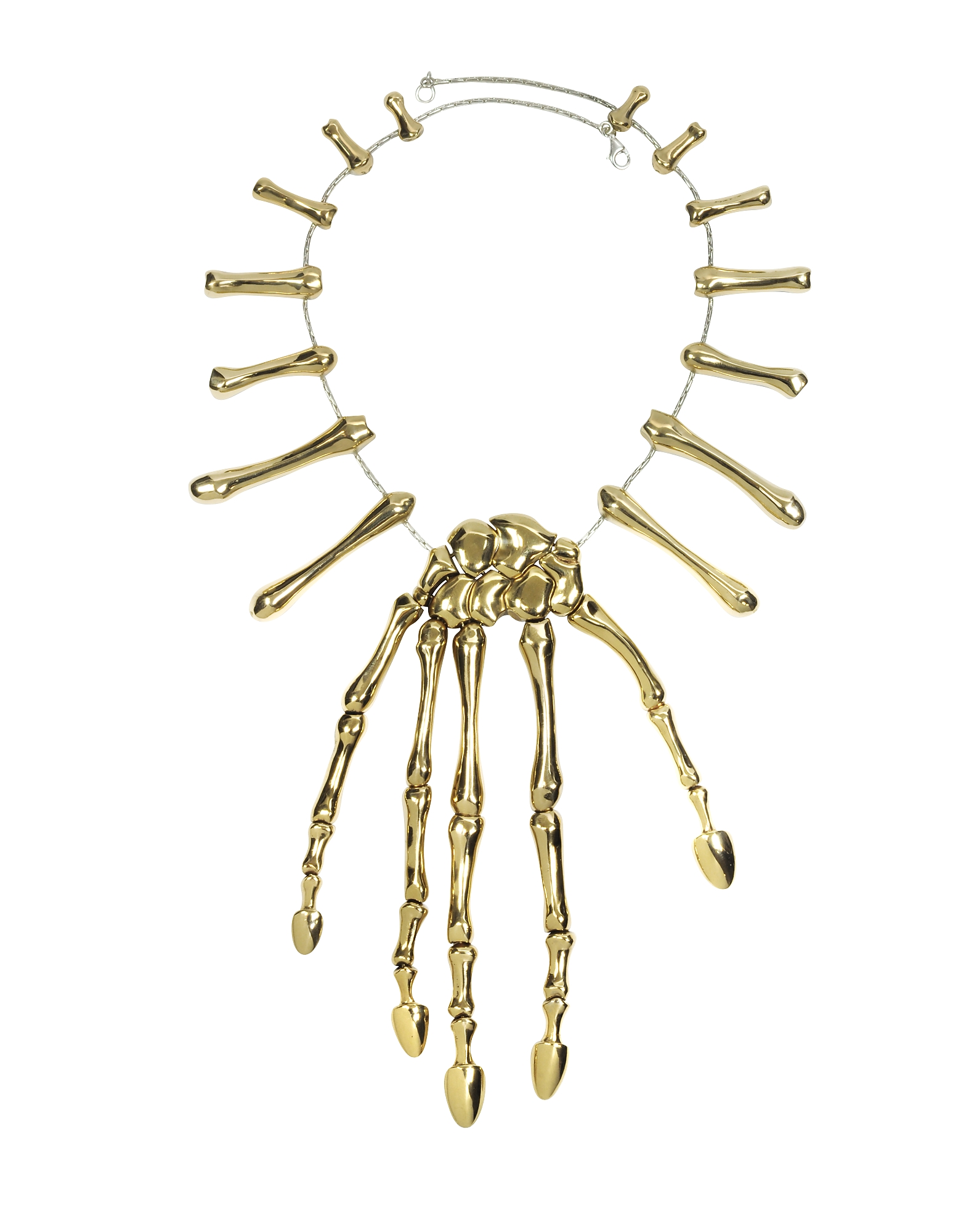 Bernard Delettrez Necklaces, Bronze Skeleton Hand Necklace