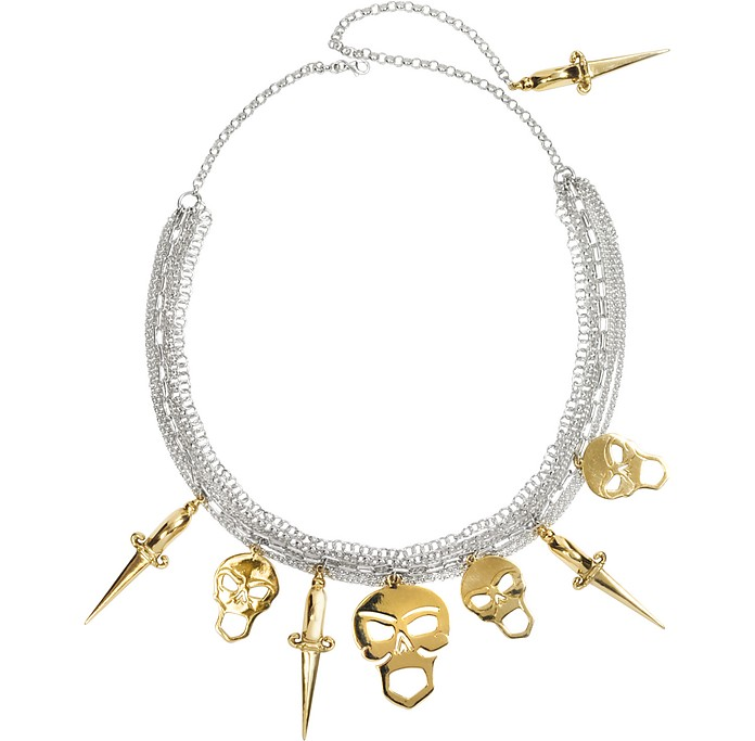 Silver Chains with Bronze Skulls and Dagger Necklace - Bernard Delettrez