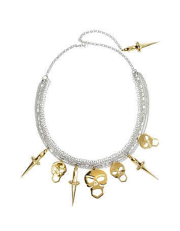 Bernard Delettrez - Silver Chains with Bronze Skulls and Dagger Necklace