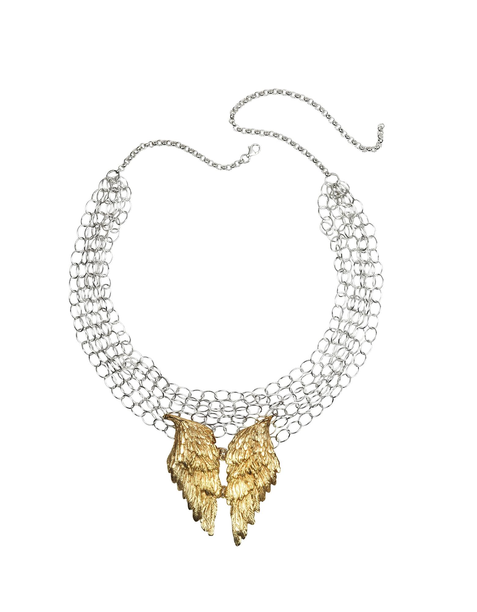 Ожерелье из Серебряных Цепочек с Крыльями из Бронзы