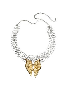 Halskette aus Silber mit Flügeln aus Bronze - Bernard Delettrez