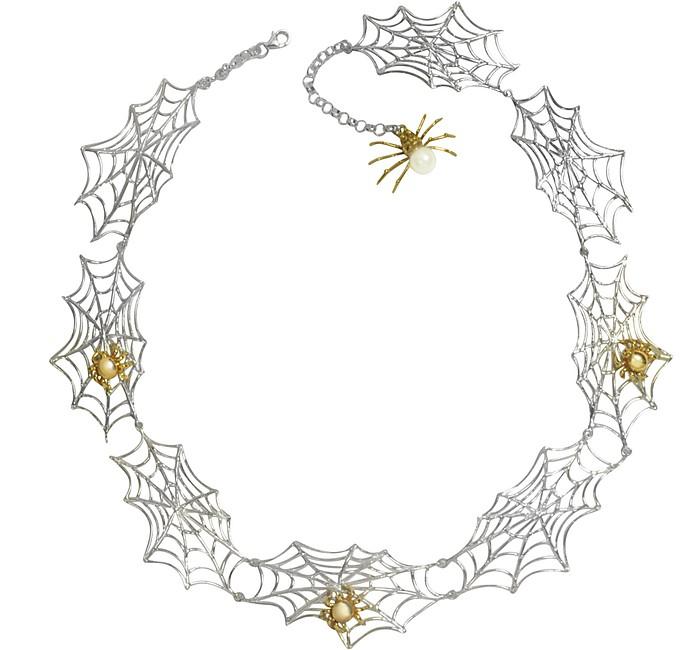 Bronze Spiders on Silver Web Necklace - Bernard Delettrez