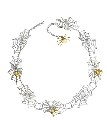 Bronze Spiders on Silver Web Necklace