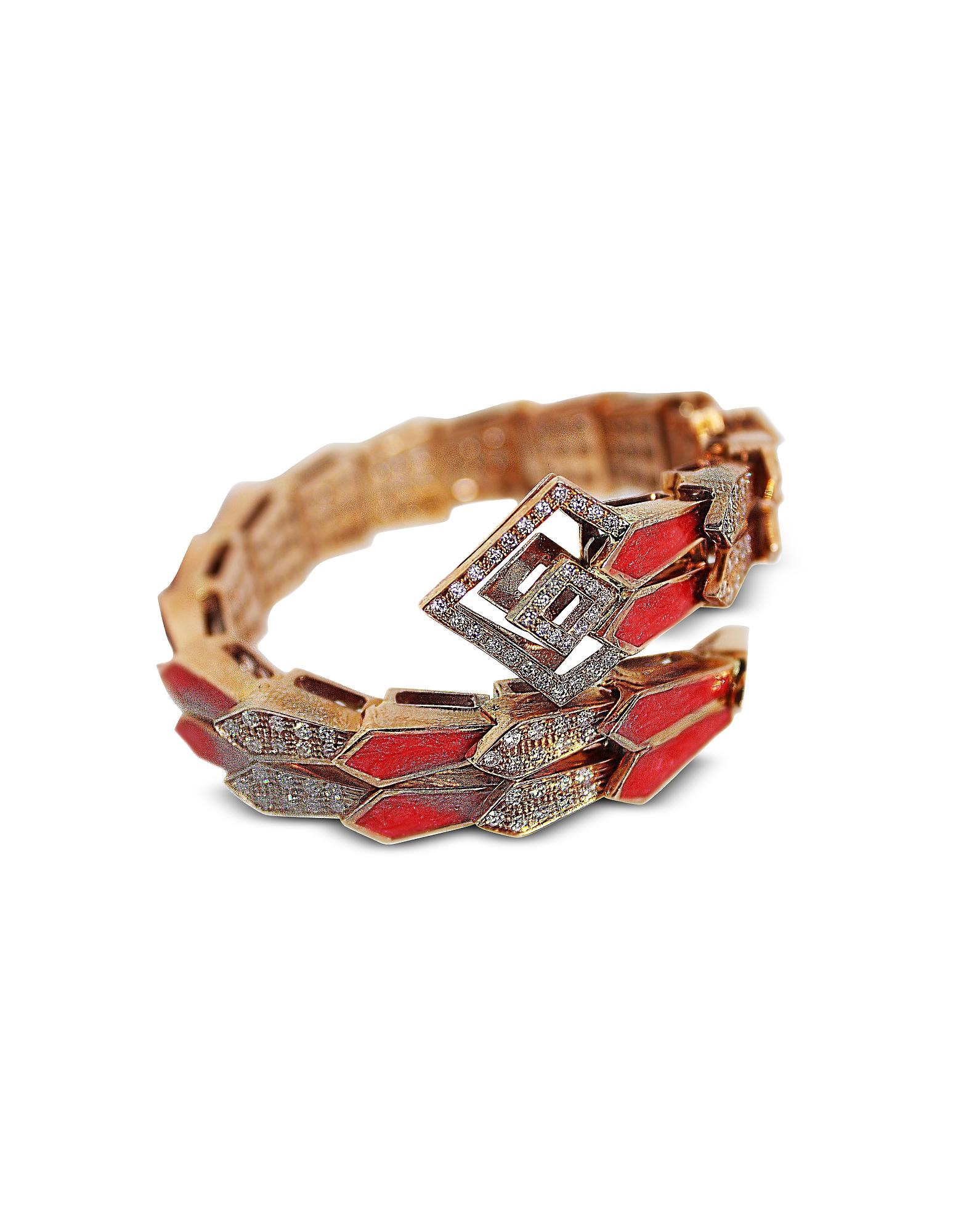 Or rose Spirale Double Serpent Bracelet w/ Diamants et Émail Rose Saumon