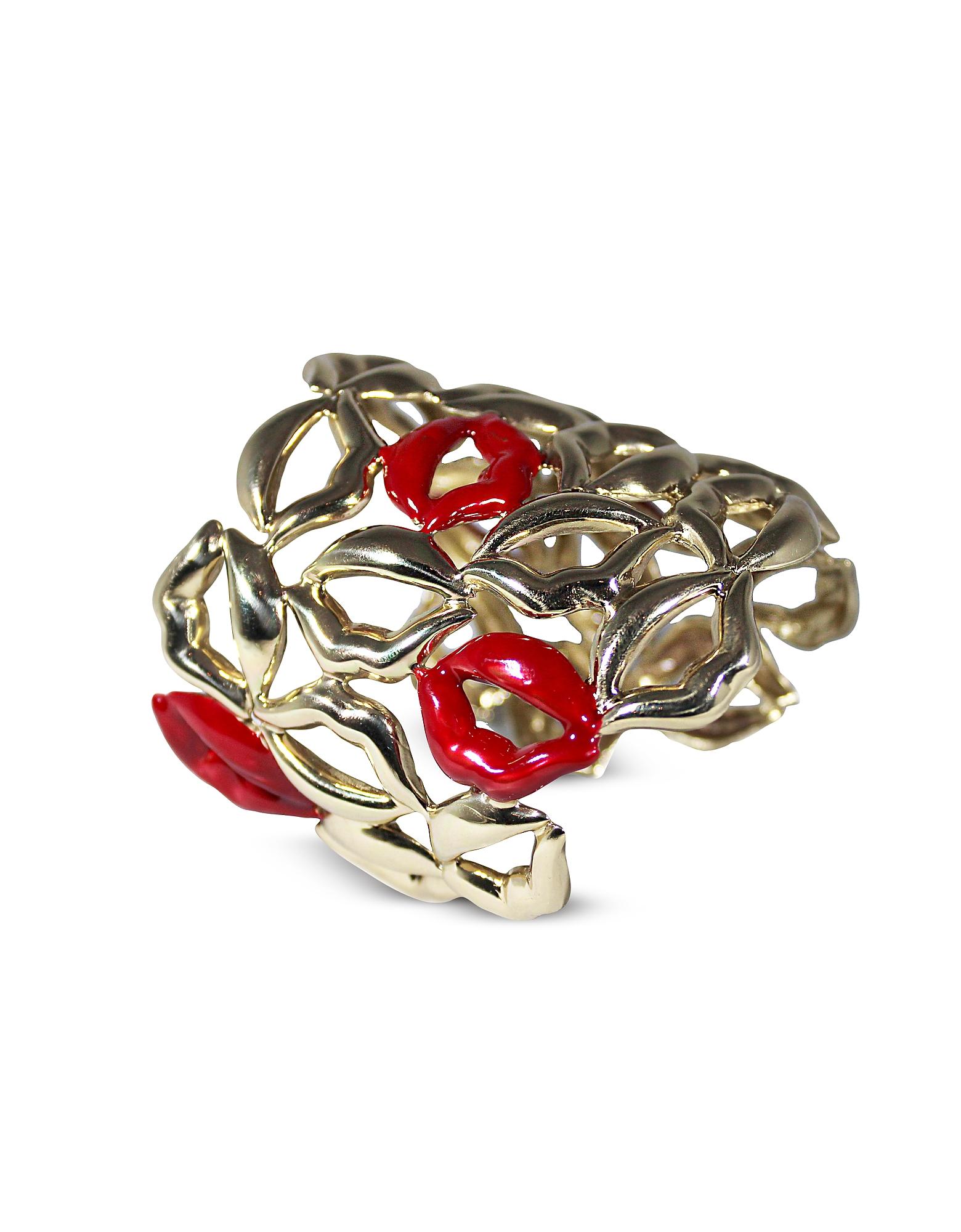 Multi Lips Brass Cuff Bracelet w/ Five Enamelled Red Lips