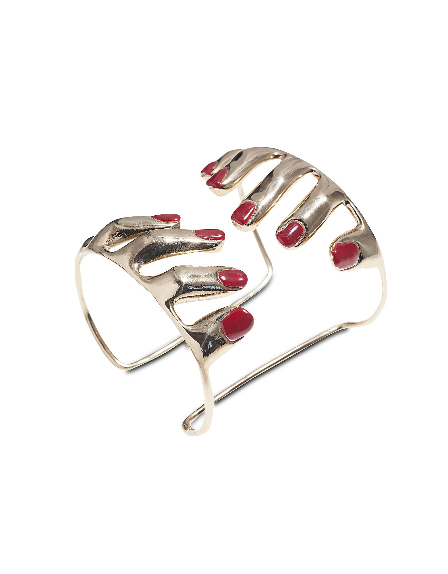 10 Fingers Bronze Cuff Bracelet w/ Enamelled Nails