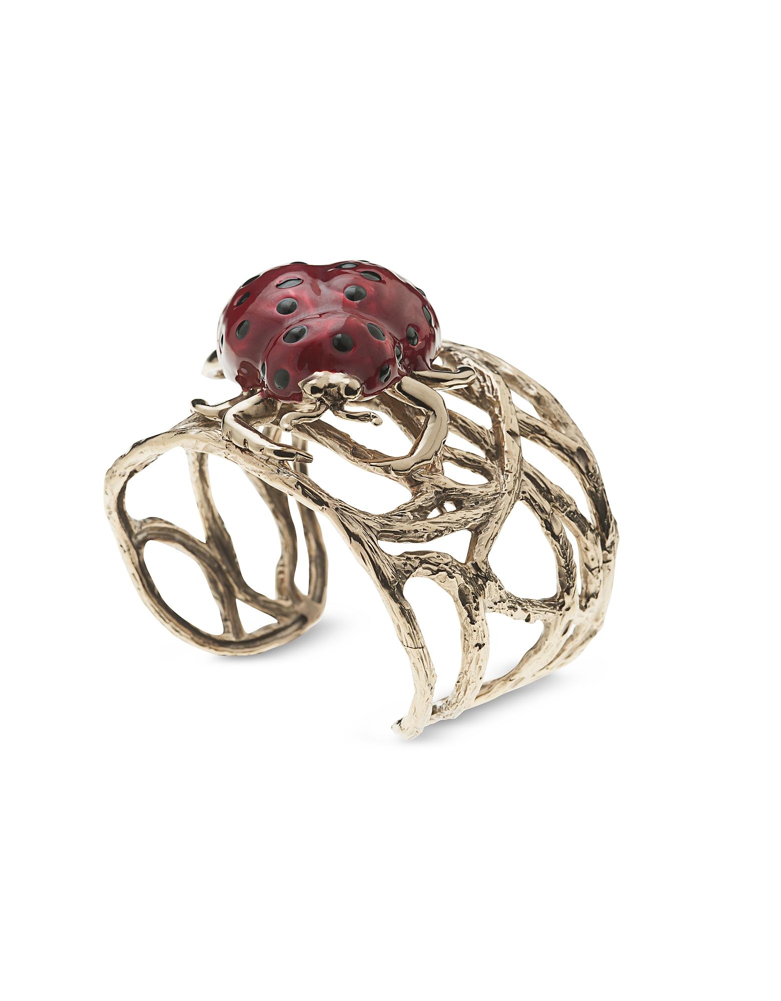 Bronze Branches Cuff Bracelet w/ Enamelled Ladybird