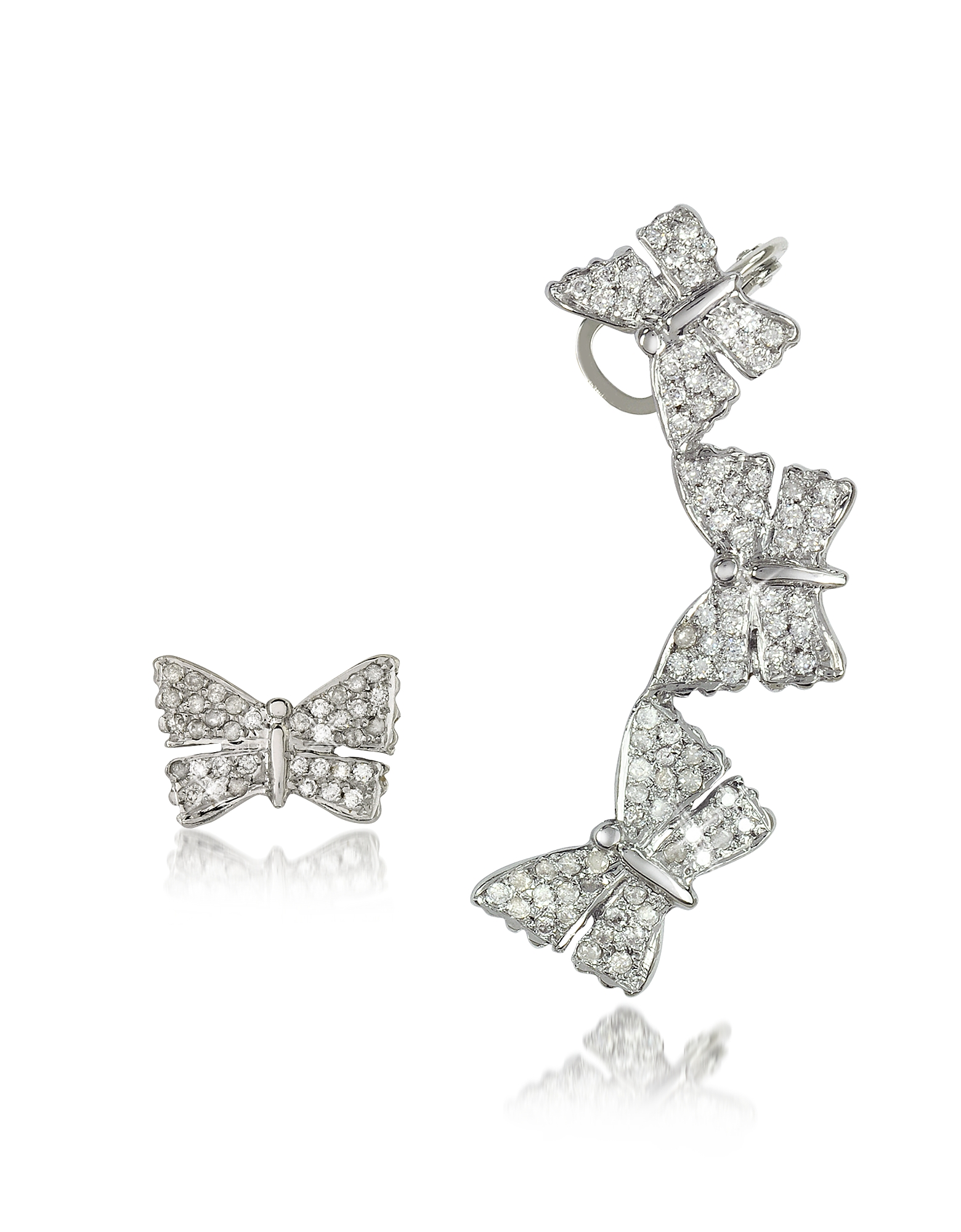 Bernard Delettrez Earrings, Butterflies White Gold Earrings w/Diamonds