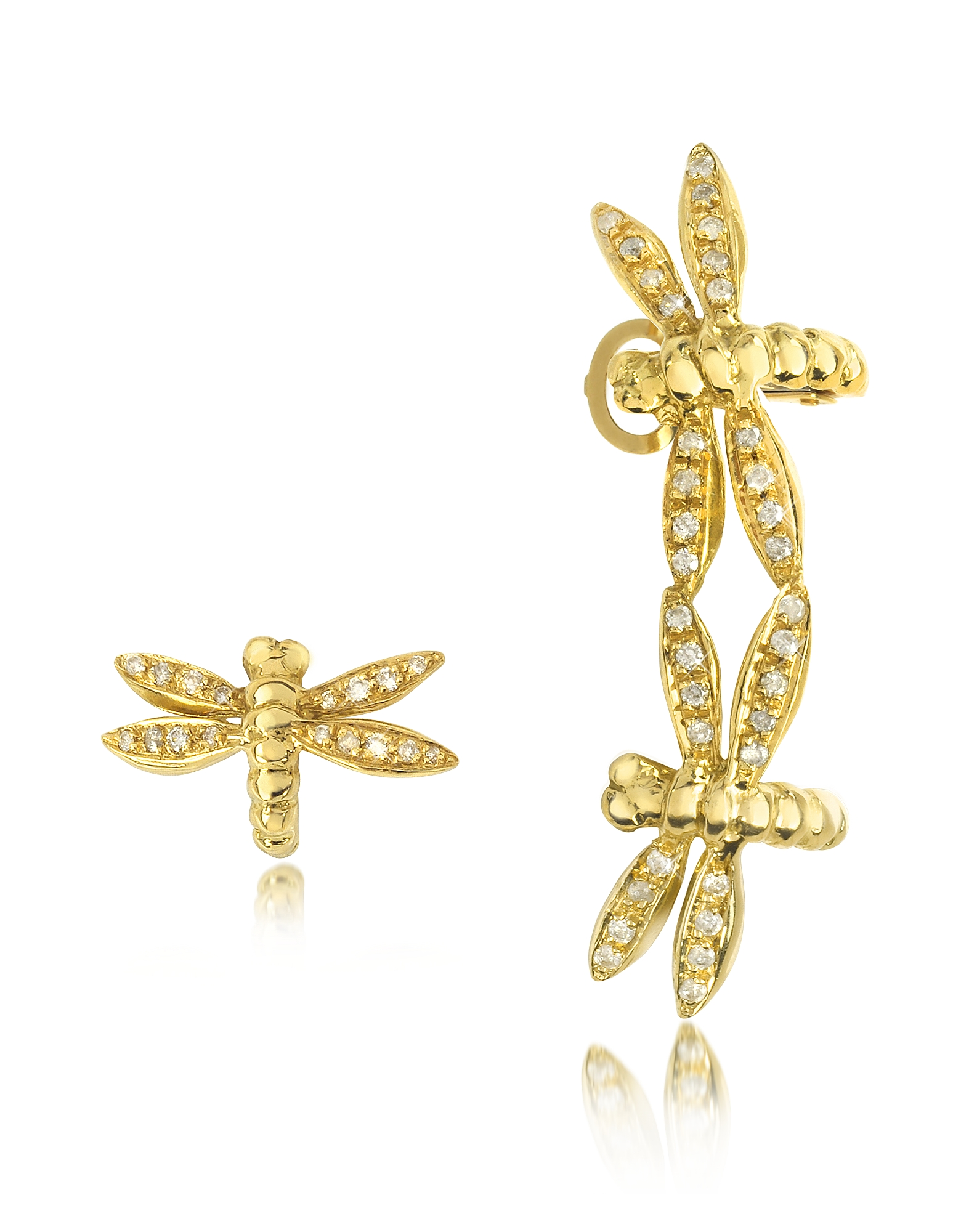 Bernard Delettrez Earrings, Dragonflies 18K Gold Earrings w/Diamonds