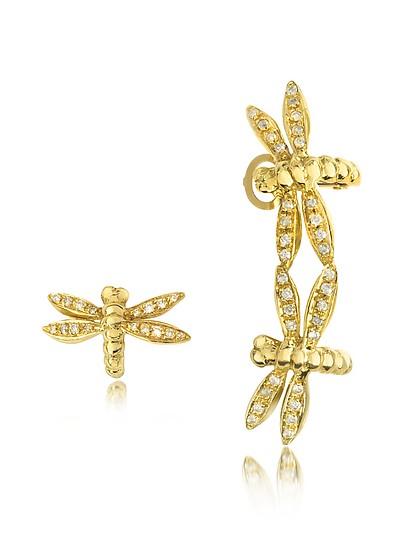Dragonflies 18K Gold Earrings w/Diamonds - Bernard Delettrez