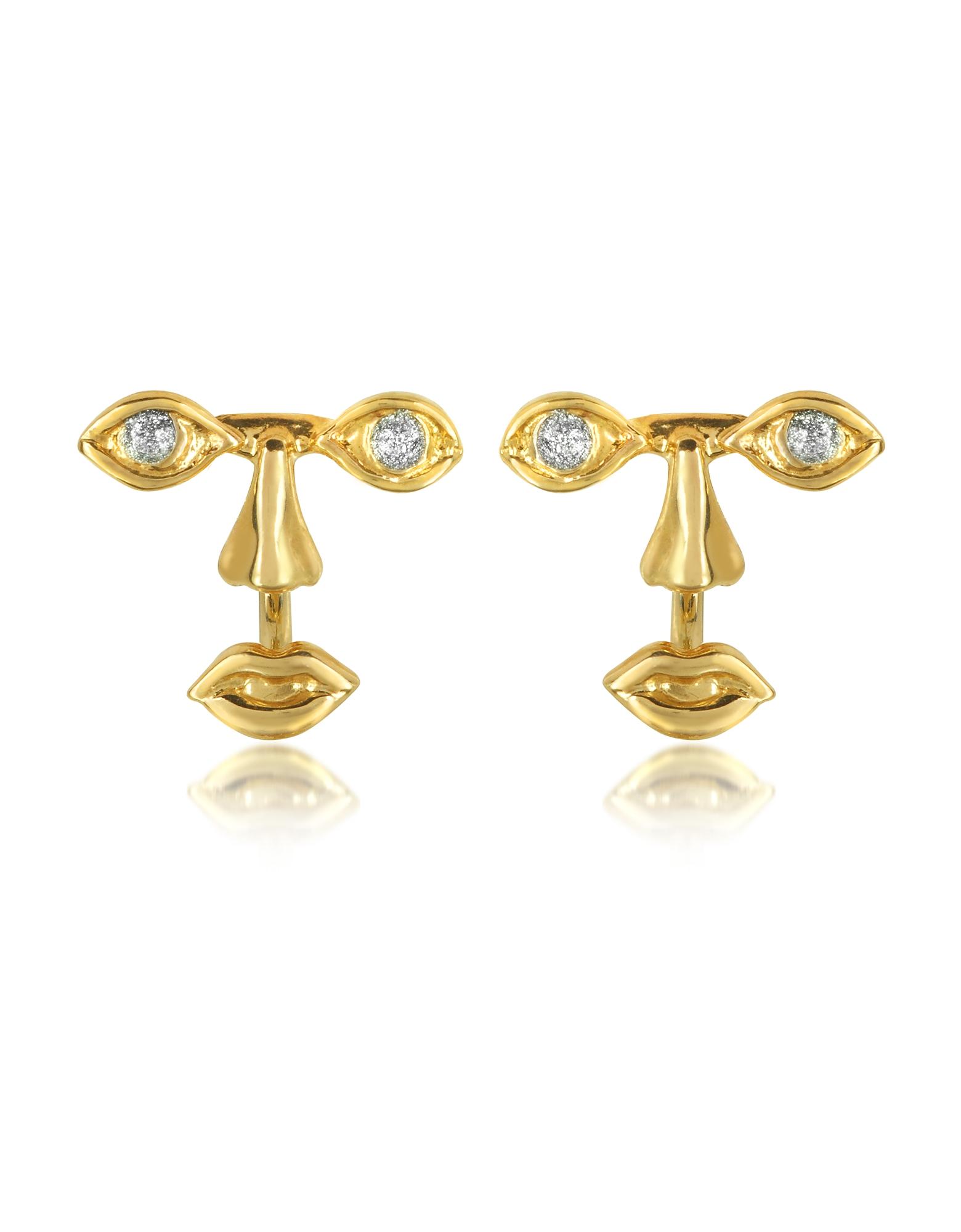 Bernard Delettrez Earrings, Osvaldo Piercing Gold Earrings