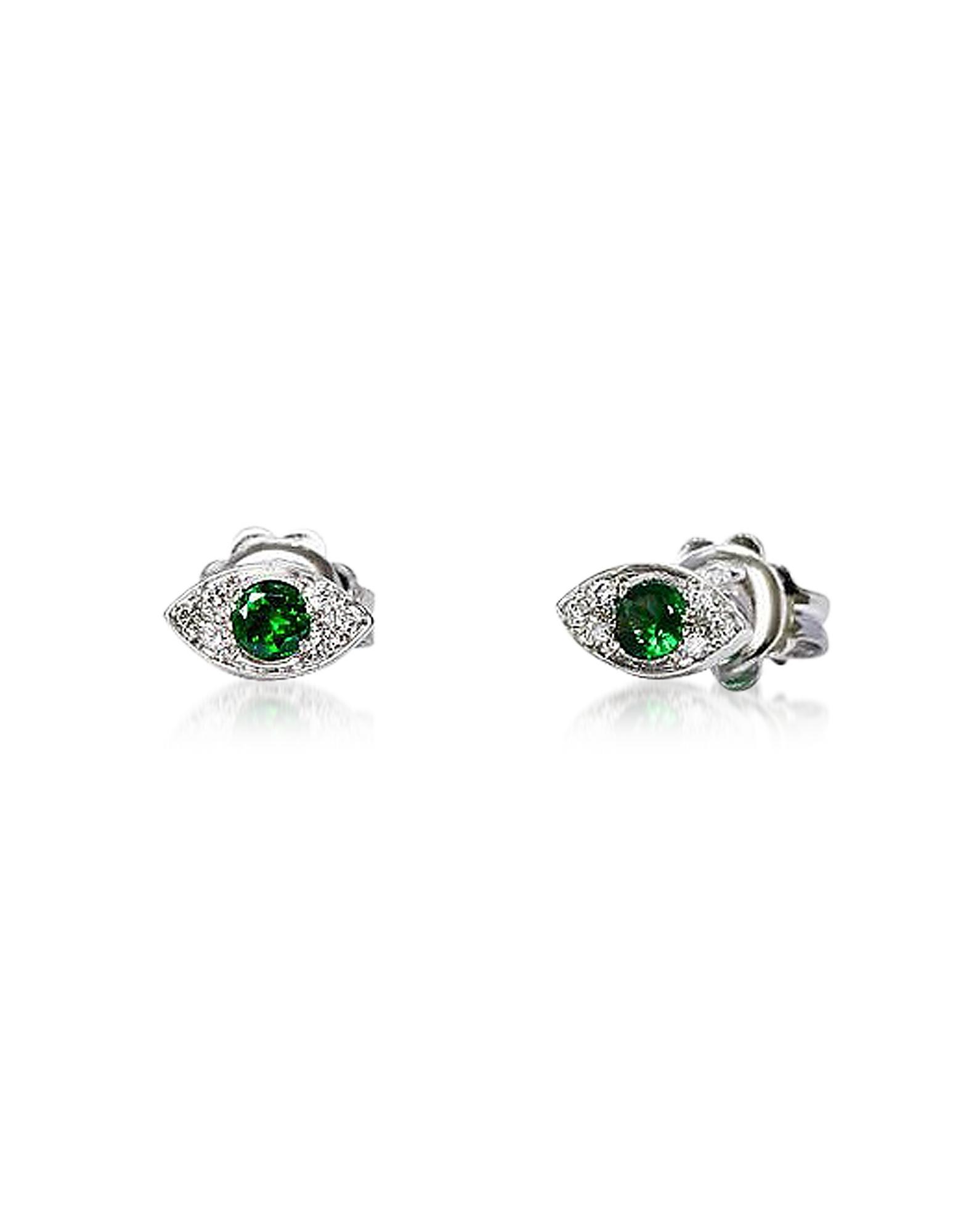 Or Mini les Yeux Boucles d'oreilles w/ Diamants et de Tsavorites