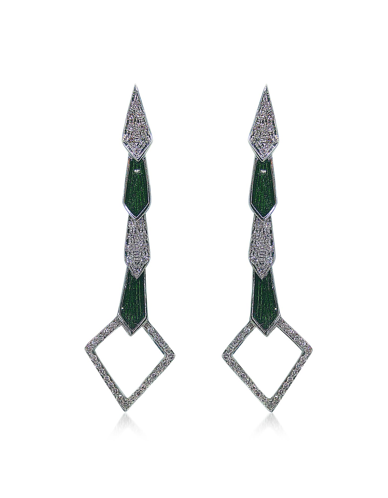 Or blanc Boucles d'oreilles Serpent w/ Diamants et Émail Vert