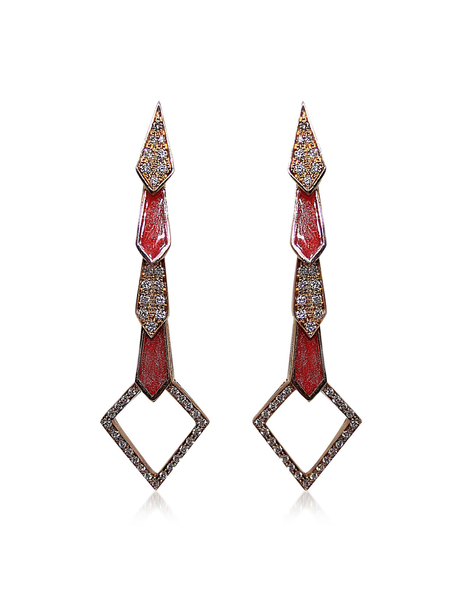 Pink Gold Snake Earrings w/ Diamonds&Salmon Pink Enamel