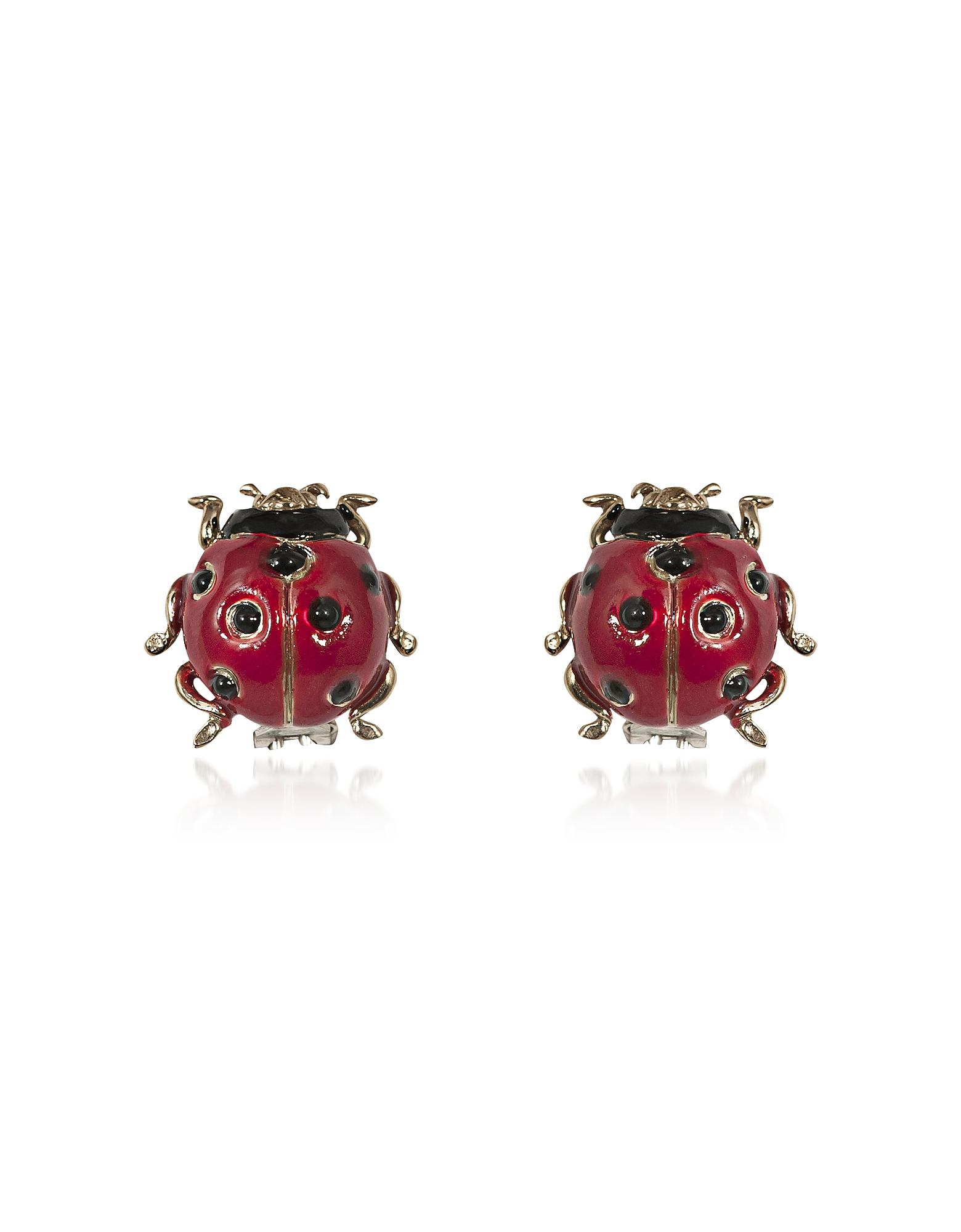 Red Ladybird Bronze Earrings