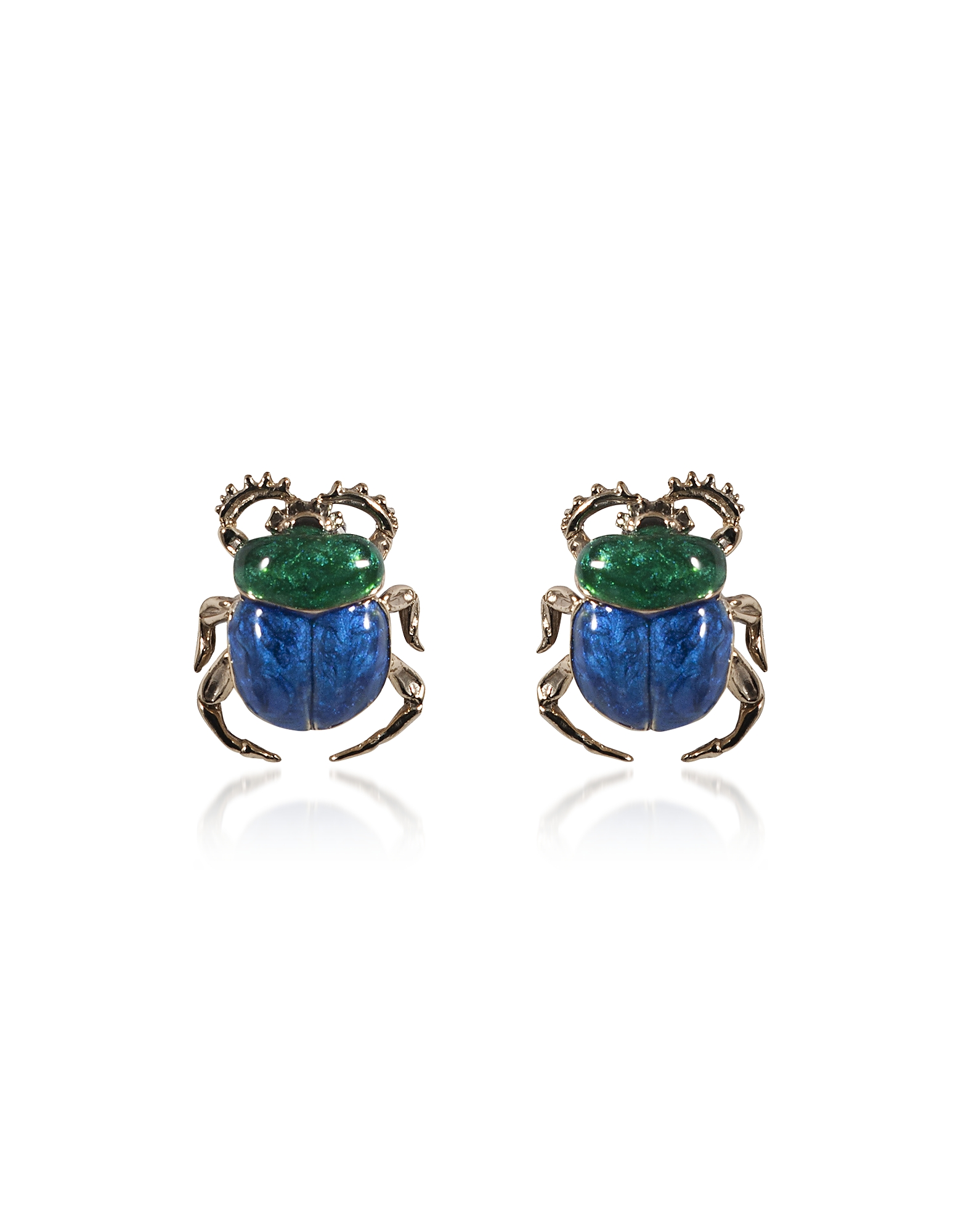 Blue Scarab Bronze Earrings