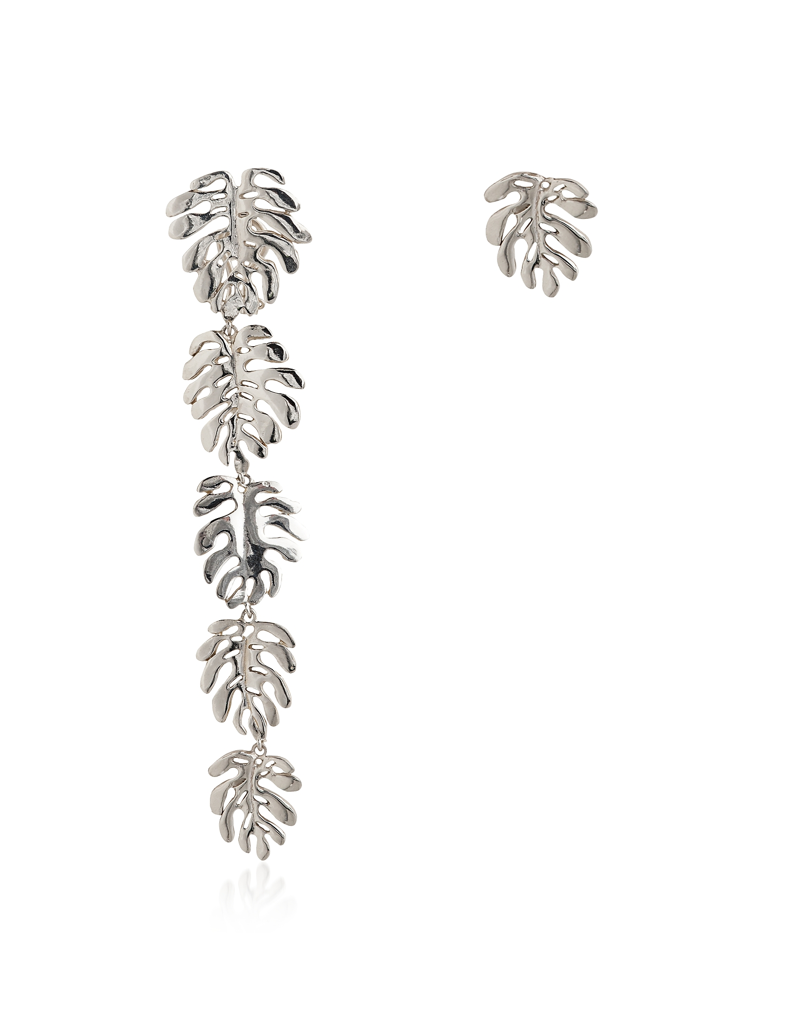 Silver Five+One Elephant Ears Leaves Earrings