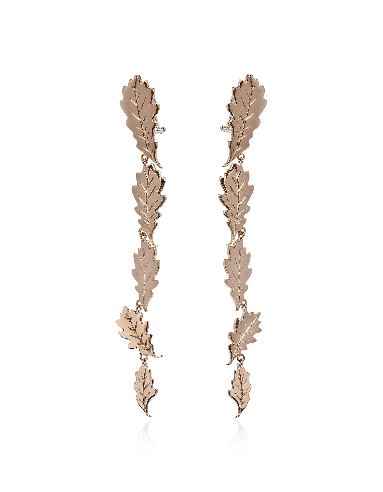Five Oak Leaves Bronze Earrings