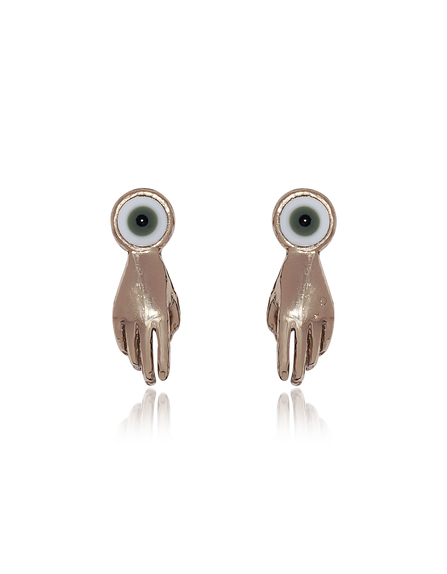 Small Bronze Hand Earrings w/ Green Eye
