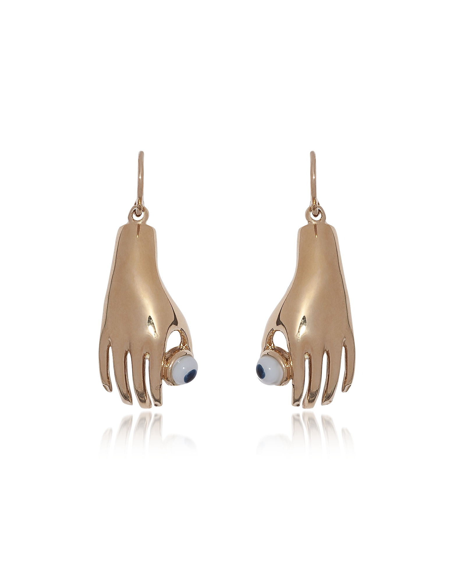 Medium Bronze Hand Earrings w/ Blue Eye