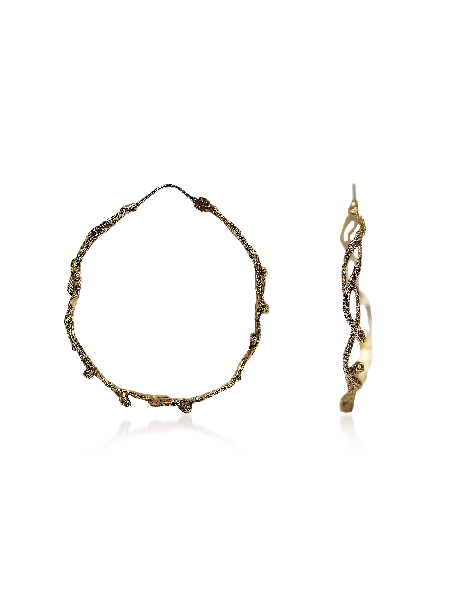 Bronze Hoop Earrings w/ Snakes