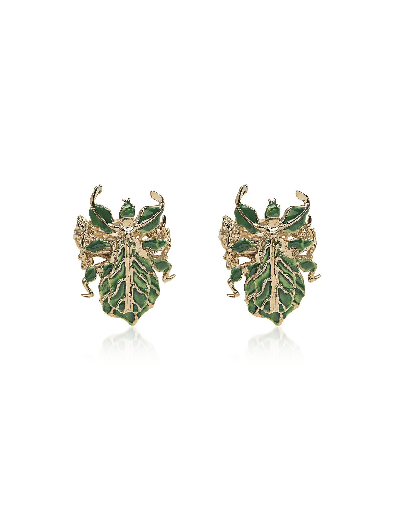 Leaf Insect Bronze Earrings w/ Enamel
