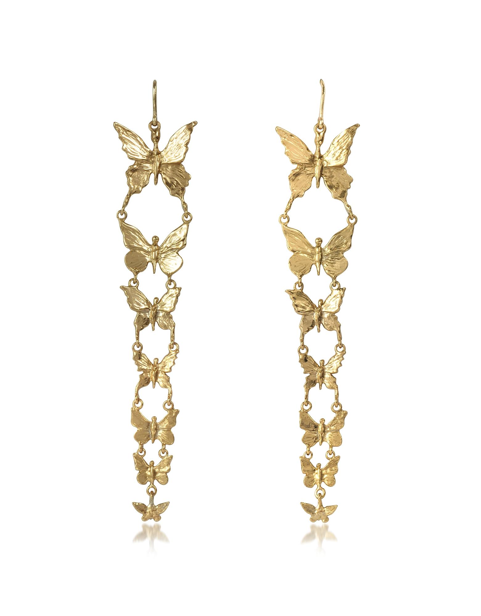 Bernard Delettrez Earrings, Butterflies Bronze Earrings