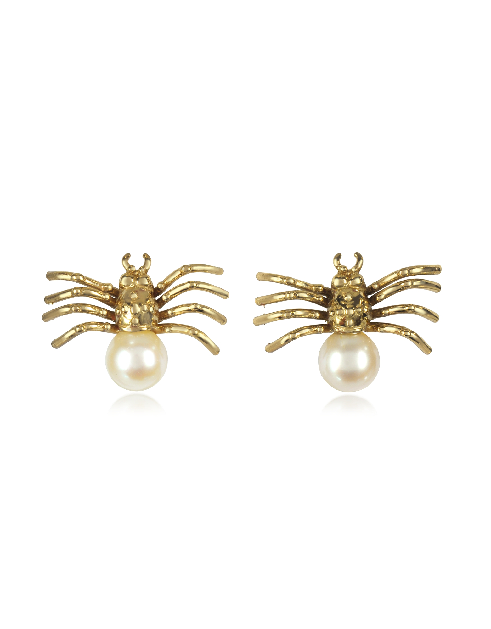 Bernard Delettrez Earrings, Bronze Spider Earrings with Pearl