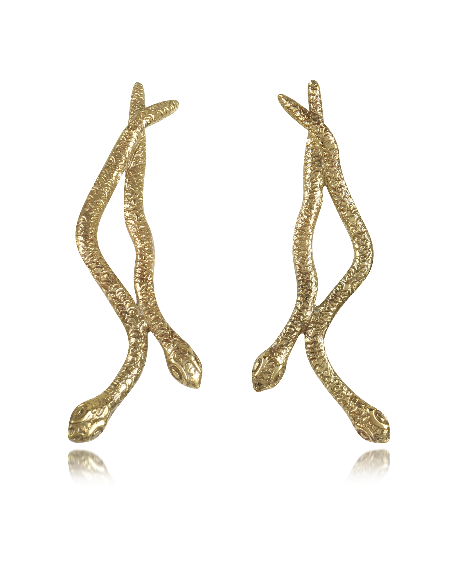 Bernard Delettrez Earrings, Snakes Bronze Earrings