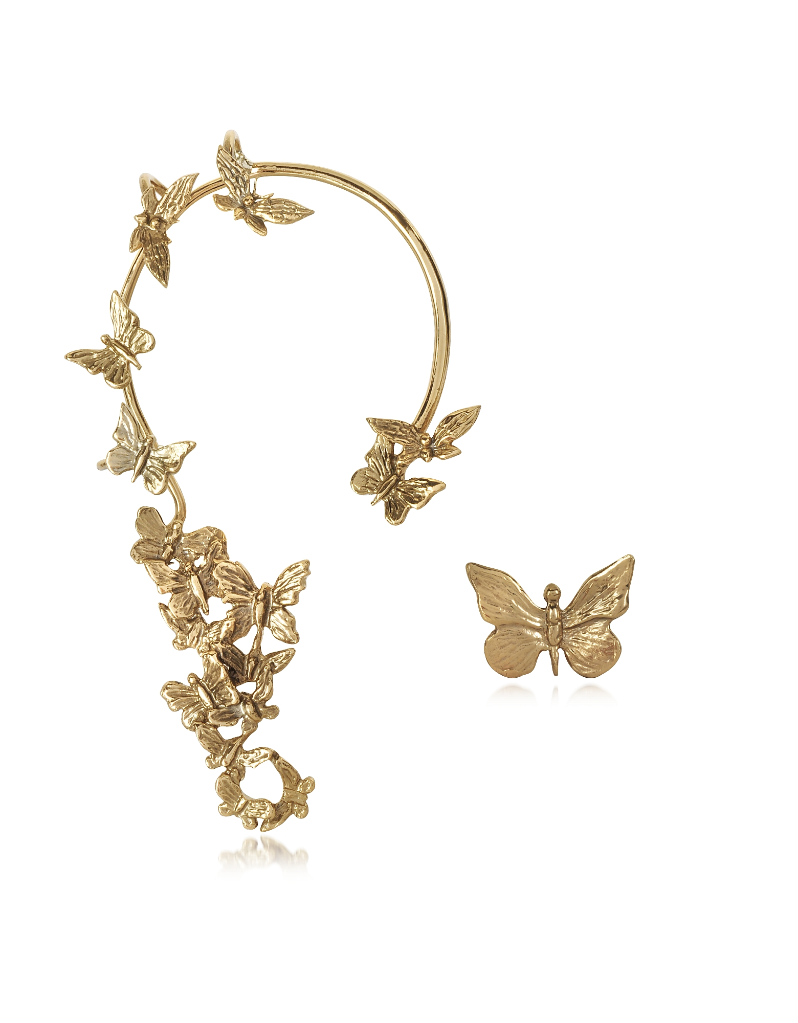 Bernard Delettrez Earrings, Butterflies Bronze Ear Cuff